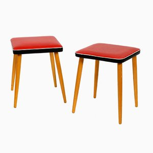 Mid-Century German Leatherette and Wood Stools, 1950s, Set of 2