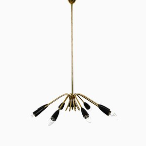 Lámpara de techo alemana Mid-Century de latón y metal, años 50