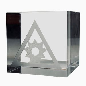 Pisapapeles estilo escandinavo moderno de vidrio de plomo de Orrefors, 1972