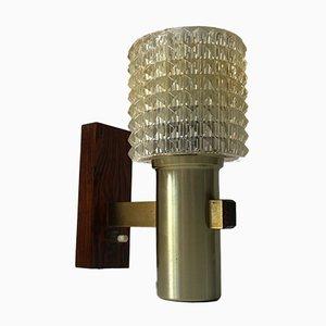 Skandinavische moderne Wandlampe aus Messing & Palisander von Lyskær Belysning, 1960er