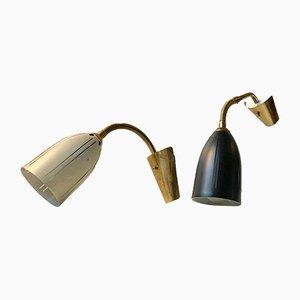 Applique in stile scandinavo in alluminio e ottone di EWÅ, anni '50, set di 2
