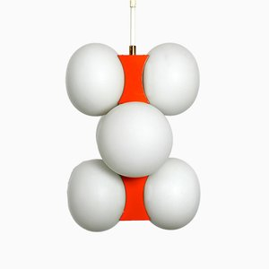 German Glass and Metal Ceiling Lamp from Kaiser Leuchten, 1960s