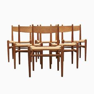 Sedie da pranzo CH36 in quercia di Hans J. Wegner per Carl Hansen & Søn, Danimarca, anni '50, set di 6