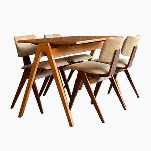 Juego de mesa de comedor y sillas de haya y contrachapado de Robin Day para Hille, años 50