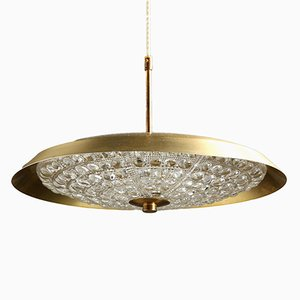 Mid-Century Crystal & Brass Pendant Lamp by Carl Fagerlund for Orrefors, 1950s