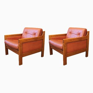 Leather & Walnut Easy Chairs by Karl-Erik Ekselius for JOC Vetlanda, 1960s, Set of 2