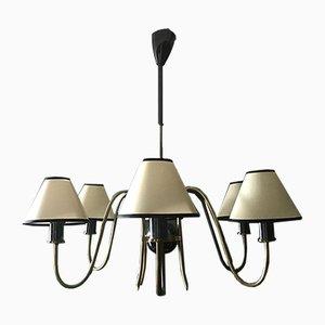 Lámpara de araña francesa Mid-Century de latón, años 50