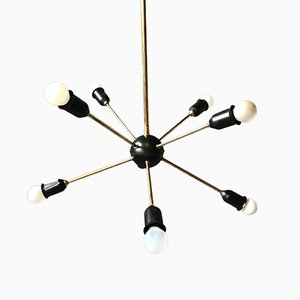 Mid-Century Italian Brass Chandelier from Stilnovo, 1950s