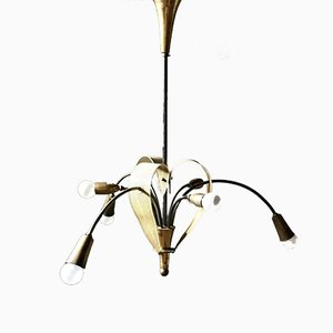 Mid-Century French Brass Chandelier, 1950s