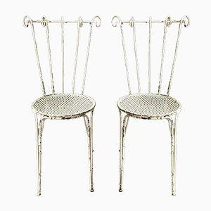 Französische Mid-Century Gartenstühle aus Eisen, 1950er, 2er Set