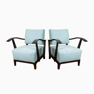 Art Deco Oak and Veneer Armchairs, 1920s, Set of 2