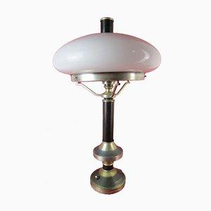 Lámpara de mesa Art Déco de vidrio opalino y acero, años 40