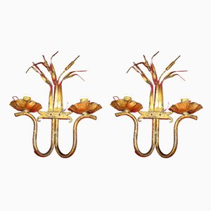 Regency Gold Leaf and Wrought Iron Sconces, 1950s, Set of 2