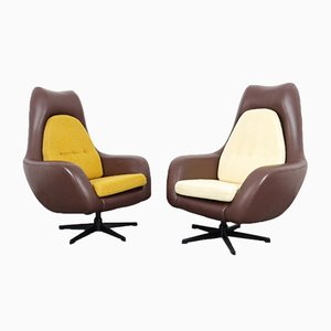 Leatherette and Metal Swivel Armchairs, 1960s, Set of 2