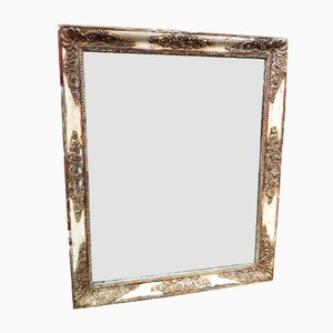 Antiker französischer Spiegel aus geschnitztem Holz & Gesso im Louis Philippe Stil