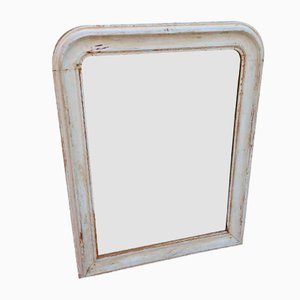 Antique French Cream Carved Wood Mirror