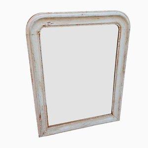 Specchio antico in legno intagliato color bianco crema, Francia