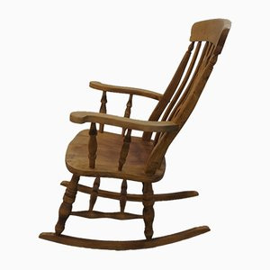 Vintage English Wooden Rocking Chair, 1970s