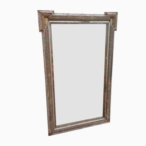 Großer versilberter antiker französischer Spiegel