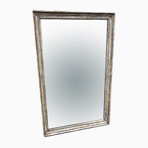 Antiker französischer Spiegel aus geschnitztem und lackiertem Holz