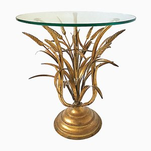 Glass and Gilded Iron Hollywood Regency Hand-Crafted Side Table, 1960s