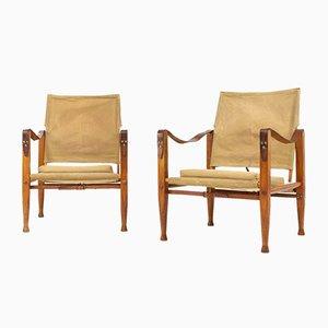 Dänische Armlehnstühle aus Esche & Leinen von Kaare Klint für Rud. Rasmussen, 1950er, 2er Set