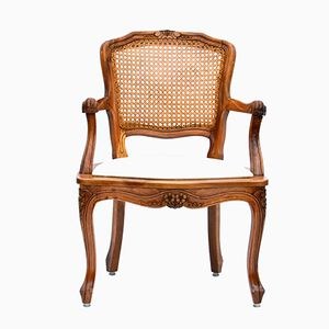 Luis XV Style Cane and Cherry Armchair, 1930s