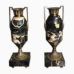Art Deco Marble, Bronze & Brass Urn Vases, 1920s, Set of 2