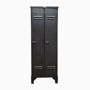 Industrial French Oak and Steel Wardrobe from Strafor, 1930s