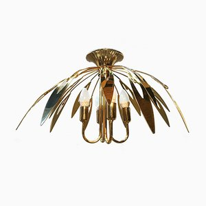 Lámpara de araña vintage de latón, años 70