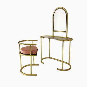 Brass Dressing Table & Chair Set, 1970s