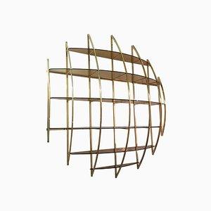 Spherical Brass Wall Unit by Manfredo Massironi for Nikol International, 1970s
