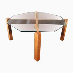 Minimalist German Glass and Wood Coffee Table, 1980s
