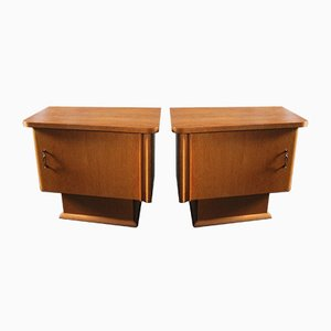 German Veneered Nightstands, 1960s, Set of 2
