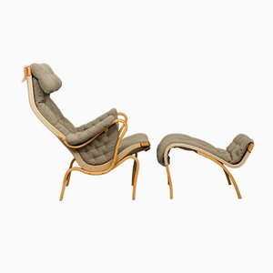 Beech Lounge Chair & Ottoman Set by Bruno Mathsson for Dux, 1970s