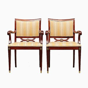 Scandinavian Fabric & Wood Armchairs, 1950s, Set of 2