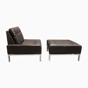 Danish Leather Armchair & Ottoman by Hans Peter Piehl for Wilkhahn, 1960s