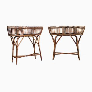 Italian Rush Plant Stands, 1950s, Set of 2