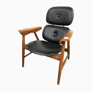 Italienischer Sessel aus Buche & Messing von Poltronova, 1970er