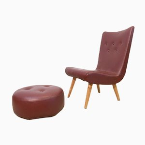 Mid-Century Swedish Leatherette Lounge Chair & Pouf Set, 1960s
