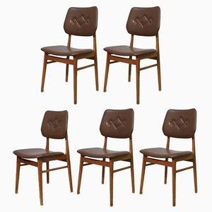 Schwedische Mid-Century Esszimmerstühle aus Kunstleder, 1960er, 5er Set