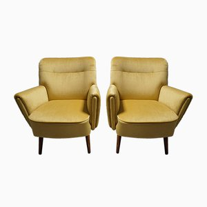 Scandinavian Modern Style Wood and Velvet Lounge Chairs, 1960s, Set of 2
