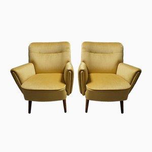 Skandinavische Sessel aus Holz und Samt im modernen Stil, 1960er, 2er Set