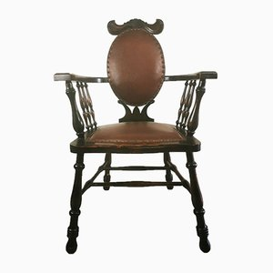 Antique Art Nouveau Mahogany Side Chair with Moustache Carved Top