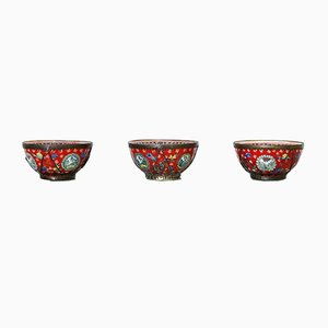 Antique Chinese Cloisonné Enamel Bowls, Set of 3