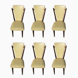 Französische Esszimmerstühle aus Buche & Kunstleder, 1970er, 6er Set