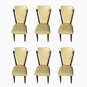 French Beech and Leatherette Dining Chairs, 1970s, Set of 6
