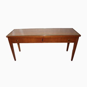 Mid-Century German Glass and Wood Console Table, 1960s