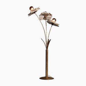 Lámpara de pie italiana vintage de latón, años 70