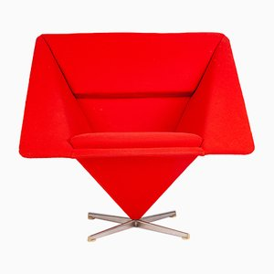 Danish Fabric and Steel Lounge Chair by Verner Panton for Plus-Linje, 1950s